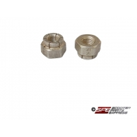 Exhaust Stud Nuts, 1 Pair (2),  GY6 50cc, 125cc, 150cc, 6M Locking, Alloy