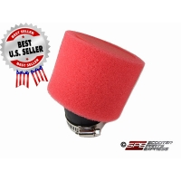"Air Filter 48mm 1 7/8"" 30 degree Red High Flow Pod Dual layer"
