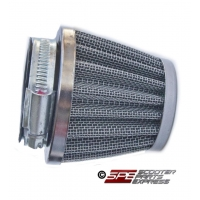 Air Filter, Performance, (42mm), Straight, Blue/Chrome Cone, 4-Stroke, GY6-125/150, 152QMI 152QMJ 157QMI 157QMJ and other models