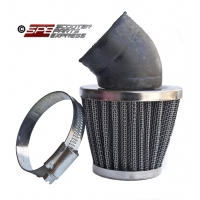 Air Filter, Performance, (42mm), 30 Degree, Blue/Chrome Cone, (approx 90mm long), 4-Stroke, GY6-125/150, 152QMI 152QMJ 157QMI 157QMJ and other models