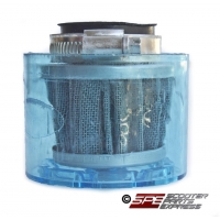 Air Filter, 35mm, 4-Stroke HP Air Filter, Straight, Shielded Chrome Cone, 4 Stroke 49cc - 110cc Honda Style Horizontal Engine