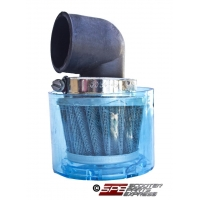 Air Filter, 35mm, 4-Stroke HP Air Filter, 90 degree, Shielded Chrome Cone, 4 Stroke 49cc - 110cc Honda Style Horizontal Engine