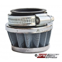 Air Filter, 35mm, 4-Stroke HP Air Filter, Small Version (51mm long), Chrome UFO, 4 Stroke 49cc - 110cc Honda Style Horizontal Engine