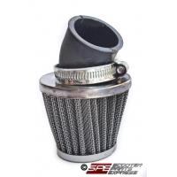 Air Filter, 35mm, 4-Stroke HP Air Filter, 30 degree, Chrome Cone, 4 Stroke 49cc - 110cc Honda Style Horizontal Engine