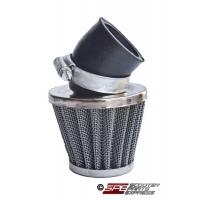 Air Filter, 38mm, 4-Stroke HP Air Filter, 30 degree, Chrome Cone, 4 Stroke 49cc - 125cc Honda Style Horizontal, GY6-50 139QMB Engine